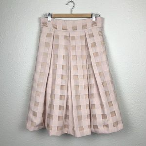 Eliza J Checked Windowpane Midi Skirt Semiformal